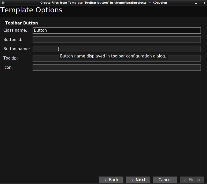 File template custom options window